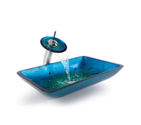 Irruption Blue Rectangular Glass Vessel Sink And Waterfall .