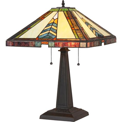 Jagger 16 Inch 2-Light Tiffany Style Mission Table Lamp .