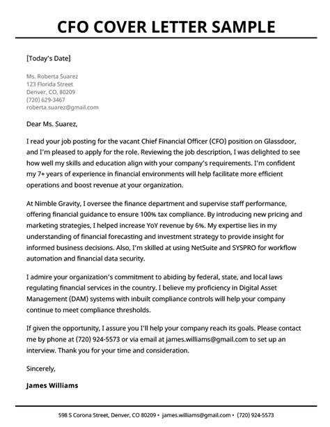 job application cover letter cfo cfo cover letter
