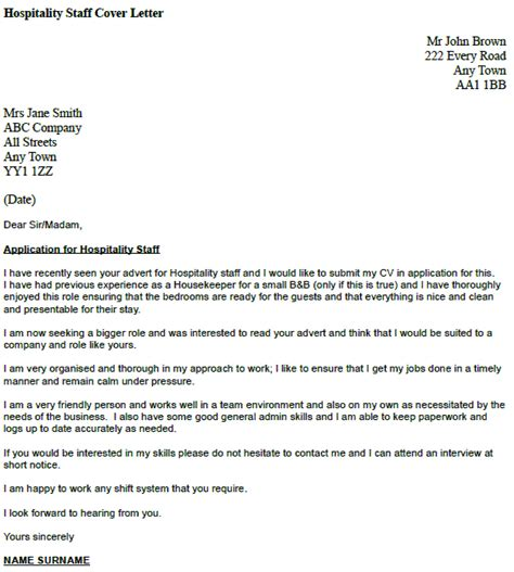 job application letter for hotel industry - Hospitality Cover Letter