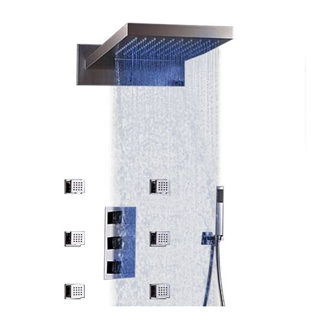 Juno 22quot Led Thermoatic Waterfall Rain Showerhead.