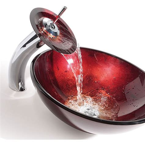 Kraus Irruption Glass Vessel Sink In Red With Single Hole .