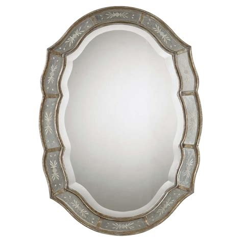 Kathy Kuo Home Collette French Antique Etched Gold Leaf Mirror.