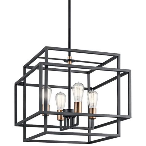 Kichler Taubert 18 W Black Steel Open-Cube 4-Light Pendant.