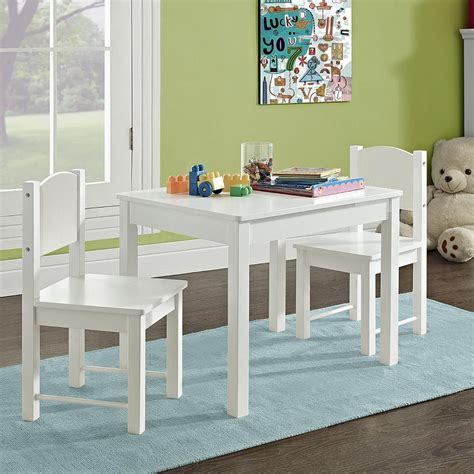 Kids White Wood Table And Chairs