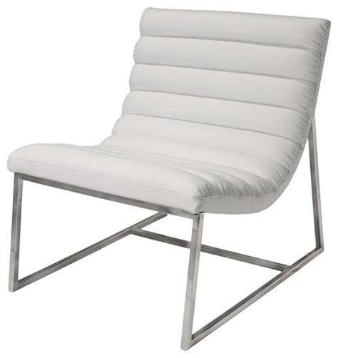 Kingsbury White Leather Lounge Accent Chair   Gdf Studio.