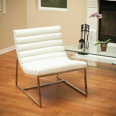 Kingsbury White Leather Lounge Accent Chair  Ebay.