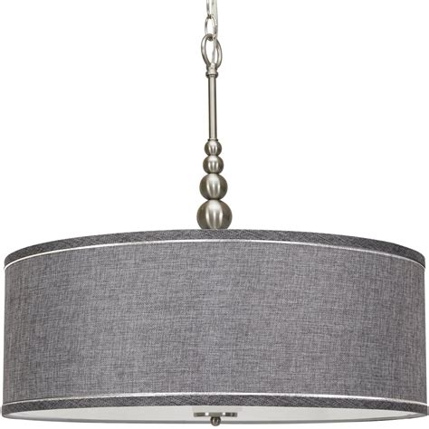 Kira Home Adelade 22 Drum Pendant Chandelier Gray Fabric .