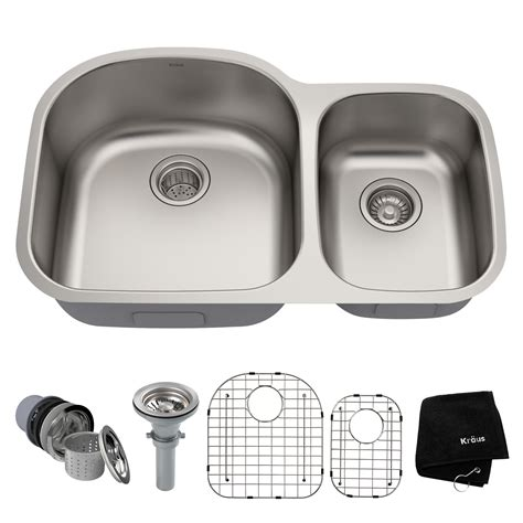 Kraus 32 Inch Undermount 60 40 Double Bowl 16 Gauge .