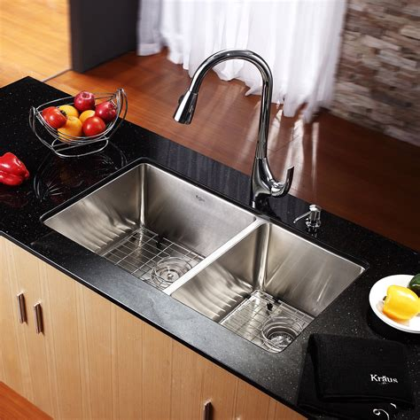 Kraus Undermount Stainless Steel 33-Inch 60 40 Double Bowl .