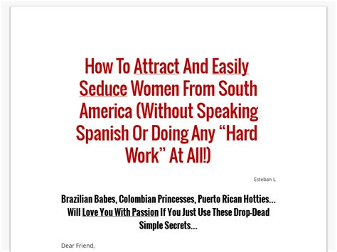 Latinw :: Secrets To Seducing Latin Women - Convert Cold Traffic.