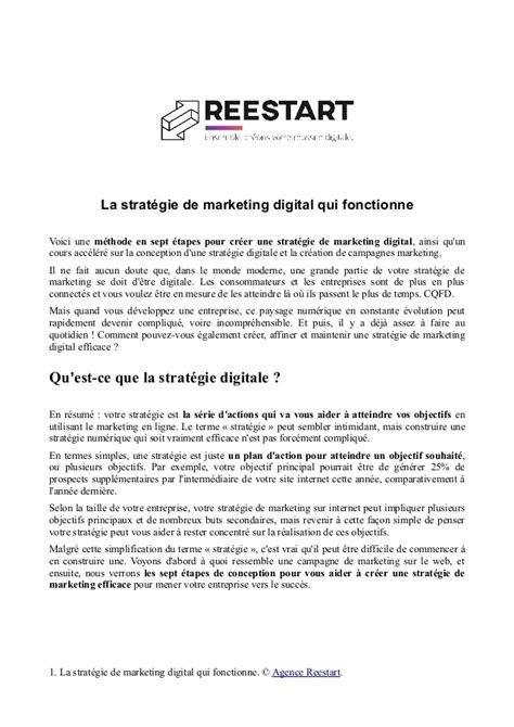 [pdf] La Strat Gie De Marketing Digital Qui Fonctionne.
