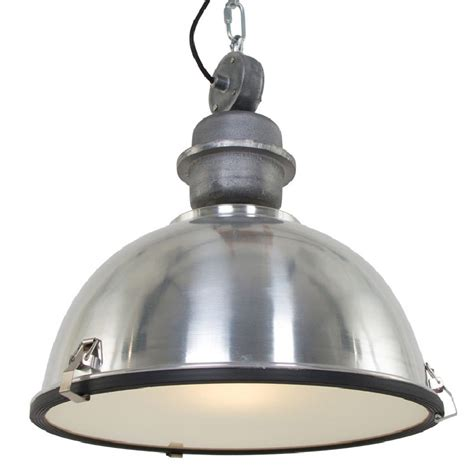 Large Industrial Warehouse Pendant Light Brushed Aluminum.