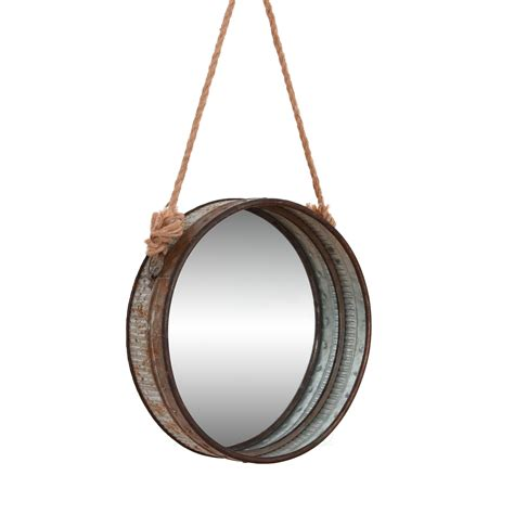 Large Suspended Round Galvanized Mirror With Rope.