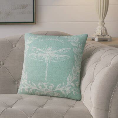 Lark Manor Clematite Dragonfly Linen Throw Pillow .