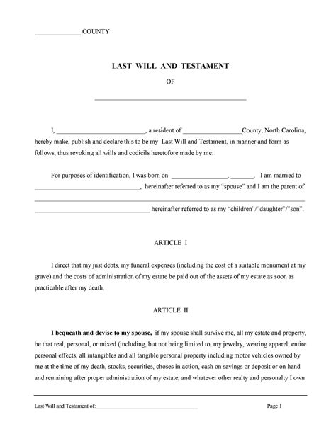 Last Will And Testament Template - Free Last Will Pdf Formswift.
