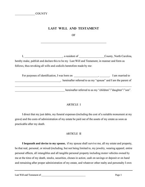 Last Will And Testament Form - Free Online Will Template.