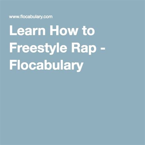 [click]learn How To Freestyle Rap - Flocabulary.