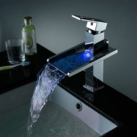 Led Bathroom Faucet Single Handle Waterfall Bathroom Sink .
