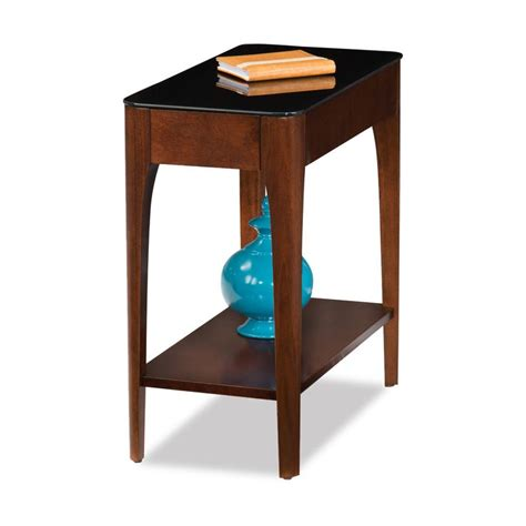 Leick Home Obsidian Narrow Chairside Table - Chestnut .