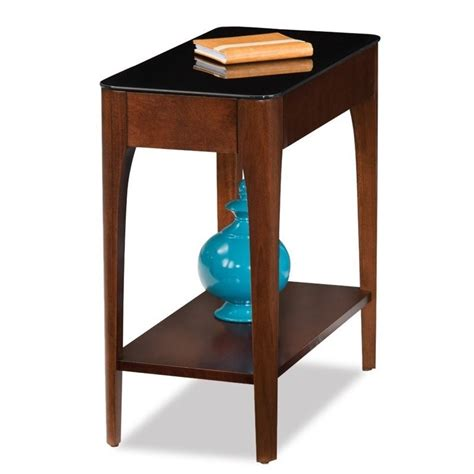 Leick Obsidian Glass Top Narrow End Table In Chestnut.