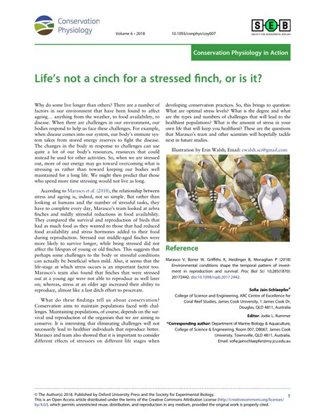 Lifes Not A Cinch For A Stressed Finch, Or Is It? Conservation.