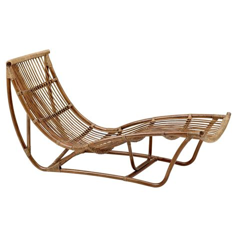 Liliana Coastal Beach Antique Brown Rattan Chaise Lounge .