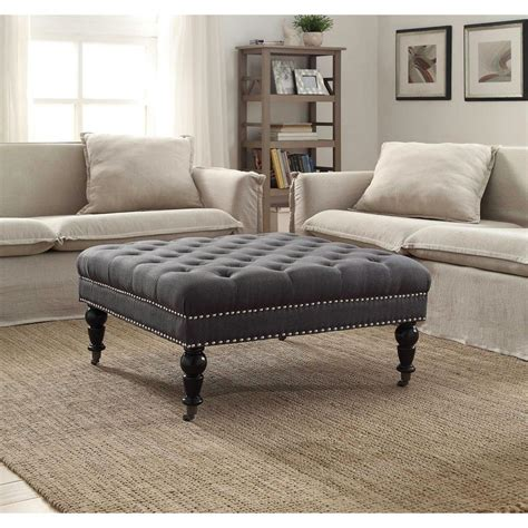 Linon Home Decor Isabelle Charcoal Accent Ottoman .