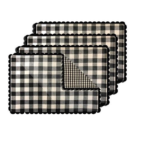 Lintex Buffalo Check Black Reversible Placemat Set Of 4 .