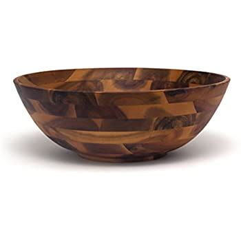 Lipper International 1184 Large Acacia Footed Flared Bowl .