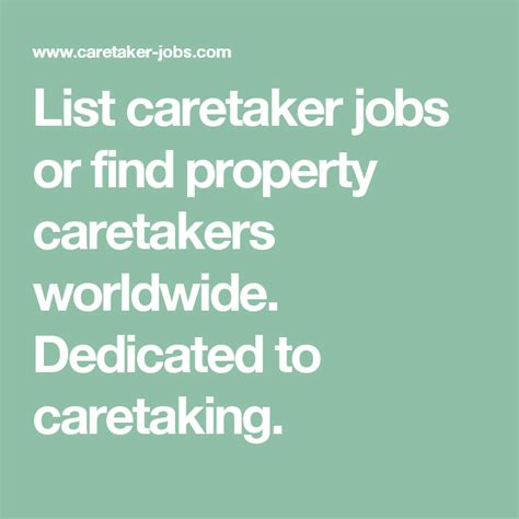 @ List Caretaker Jobs Or Find Property Caretakers Worldwide .