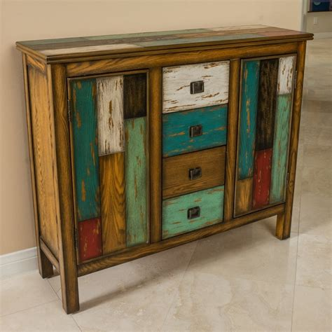 Living Room Antique Multicolor Distressed Wood Storage .