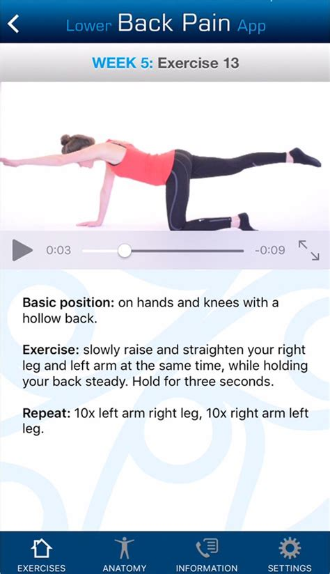 Lower Back Pain App: An Exercise Programme For The Management.