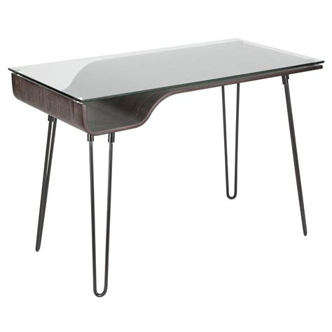 Lumisource Avery Walnut Desk With Clear Tempered Glass Top .
