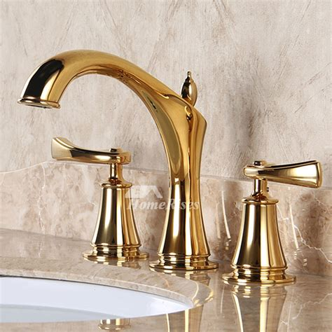 Luxury Polished Brass Three Hole Gold Bathroom Sink Faucet.