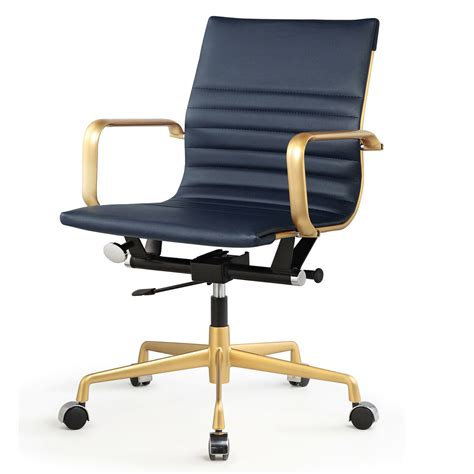 M348 Office Chair In Vegan Leather - Chrome  Navy In 2019 .