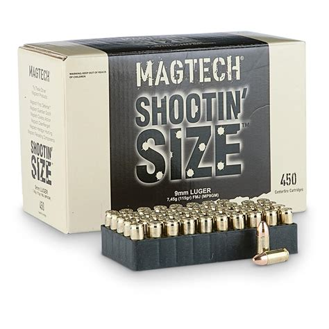 Magtech Shootin Size 9mm Fmj 115 Grain 450 Rounds .