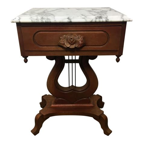 Mahogany Marble Top End Tables