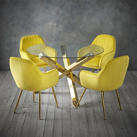 Marcelle Dining Chairs With Yellow Gold Legs Set Of 2 .