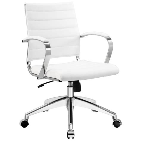 Master Gold With White Faux Leather Adjustable Office Chair.