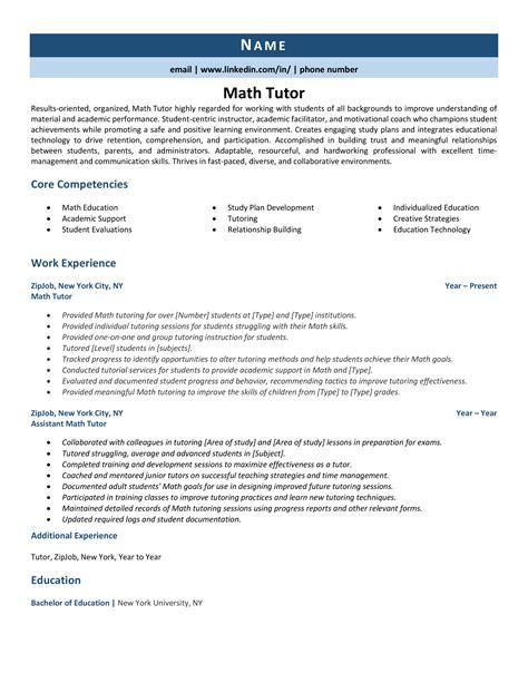 math tutor resume samples - Math Tutor Resume Sample