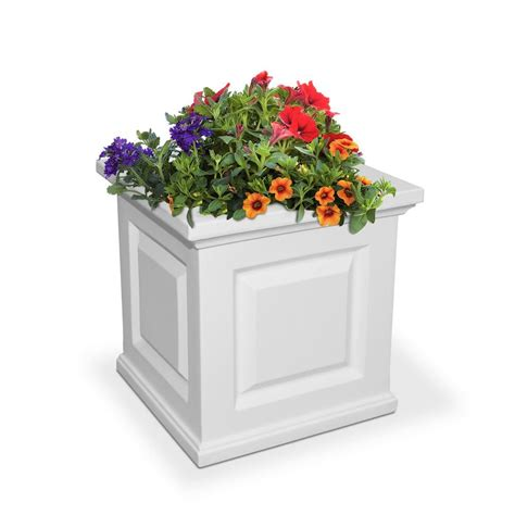Mayne Nantucket 16 In Square White Plastic Planter-5865-W .