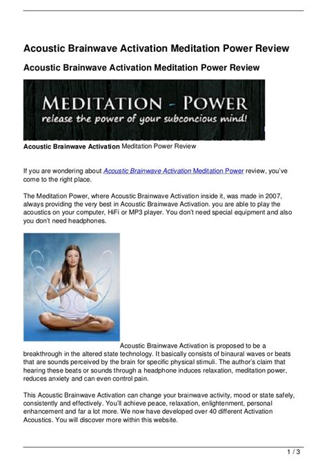 [pdf] Meditation Power - Acoustic Brainwave Activation - What .