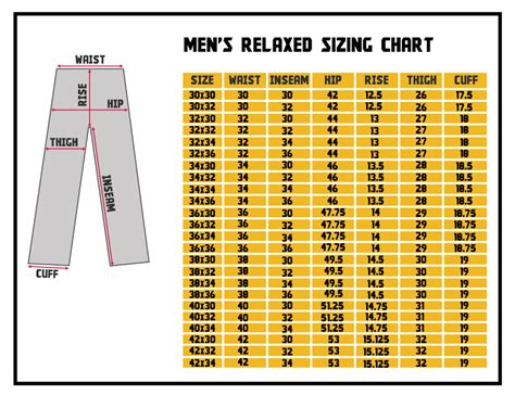Mens Trousers Size Chart - Badrhino.