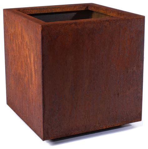 Metallic Series Corten Steel Cube Planter Small - Houzz Com.