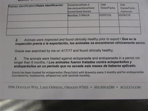 Mexican Health Certificate