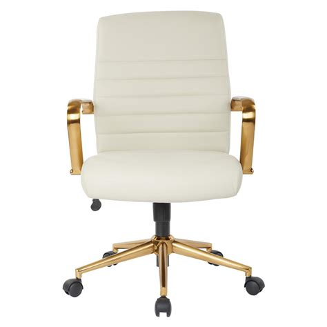 Mid-Back White Faux Leather Chair With Gold Arms And Base.