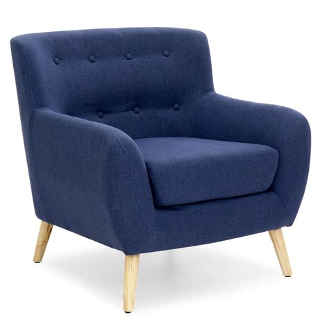 Mid-Century Modern Tufted Armchair  Home  Blue Accent .