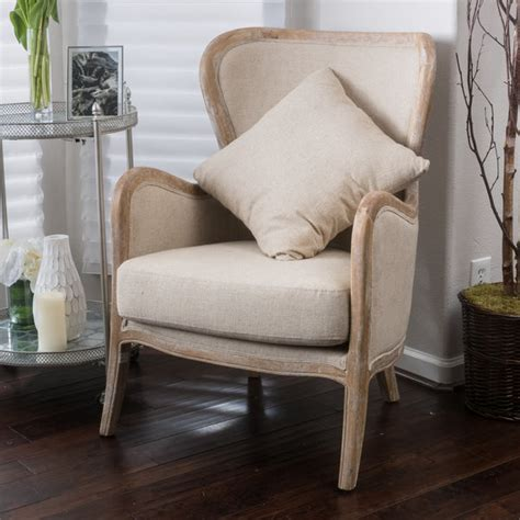 Milton Beige Fabric Wing Chair  Ebay.