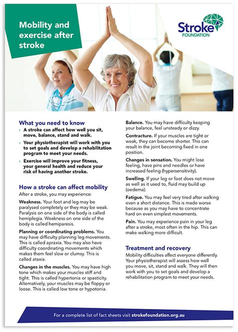 Mobility And Exercise After Stroke Fact Sheet — Stroke Foundation.